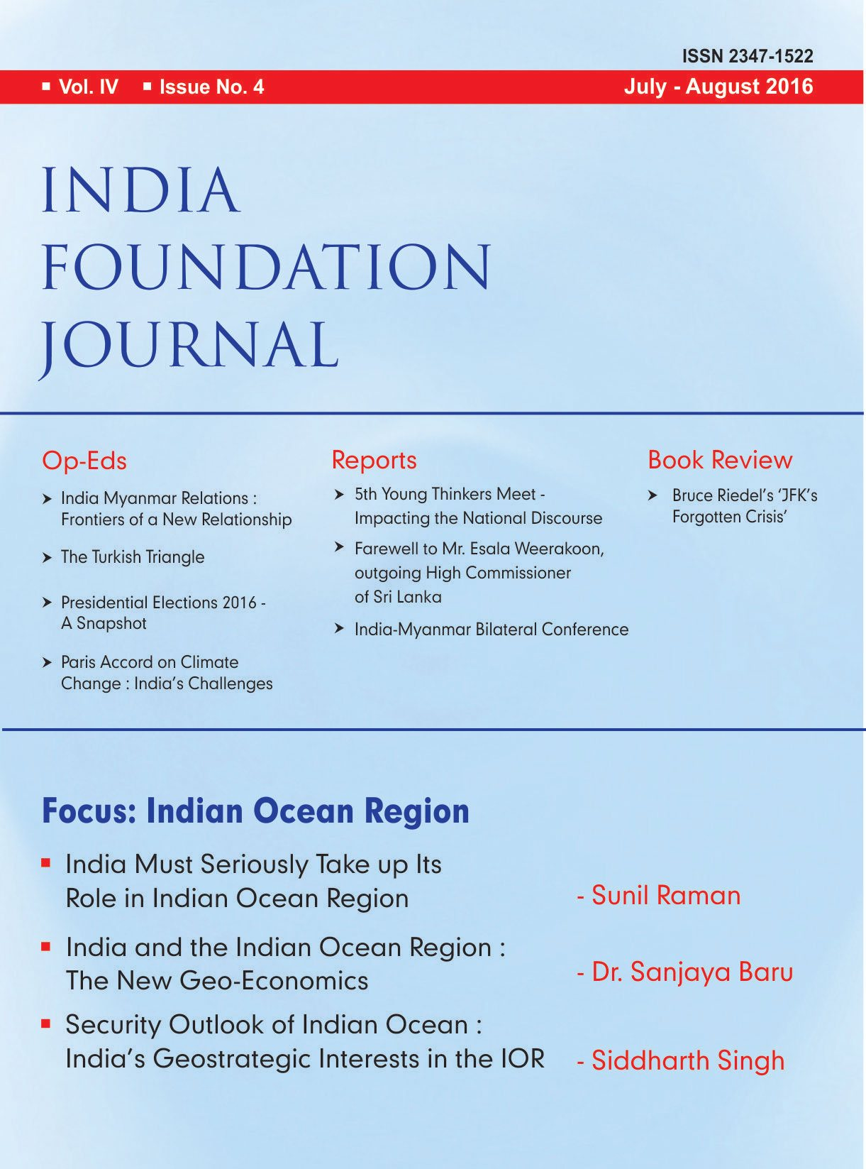 India Foundation Journal Issue 4 (Vol. IV)