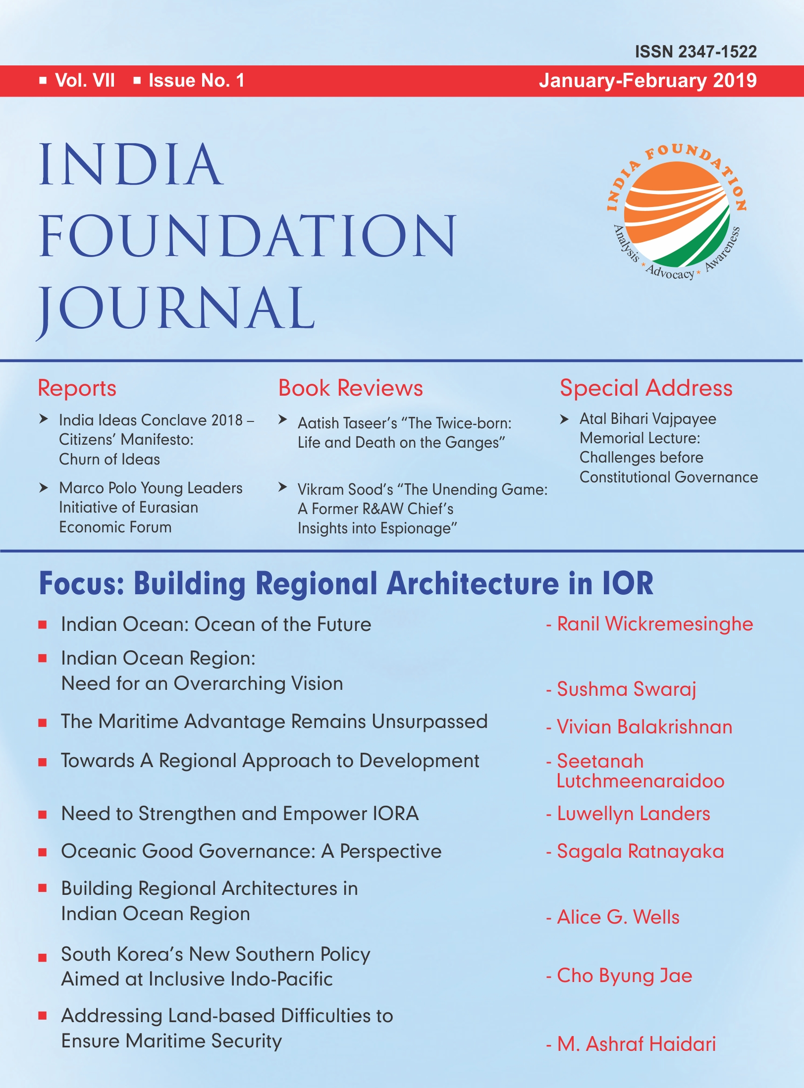 INDIA FOUNDATION JOURNAL VOL VII – ISSUE NO 1